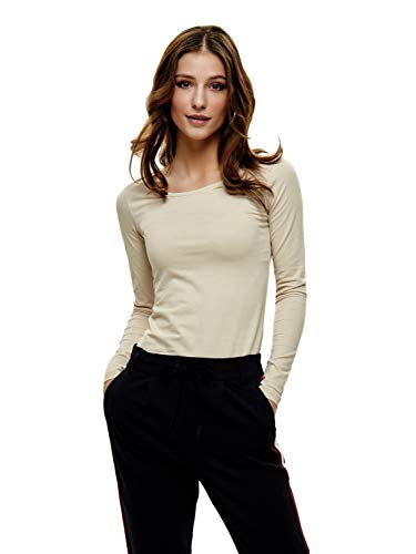 ONLY Damen Onllive Love New Ls O-Neck Top Noos Langarmshirt (Oatmeal (beige), 38 (Herstellergröße: M))