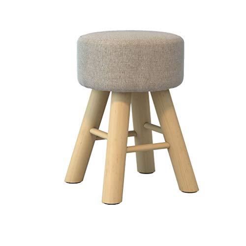 stool Sofá hogar de algodón y lino alto redondo simple creativo dormitorio salón banco sillas perezosas (color gris claro)