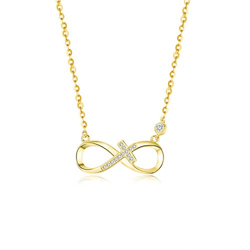 BDD CO. Infinity Necklaces, 925 Sterling Silver Necklaces for Women, Infinite Love, Girls Necklaces Adjustable,Golden Necklaces