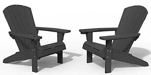 Keter Alpine Adirondack 2 Pack Resin Outdoor Furniture Patio Chairs with Cup Holder-Perfect for Beach, Pool, and Fire Pit Seating, Dark Grey