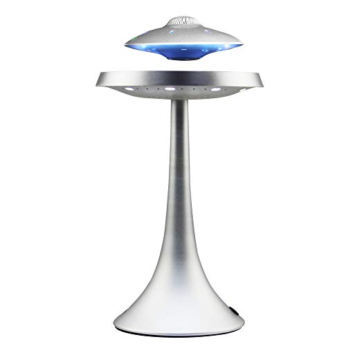 Levitating Floating Speaker, Magnetic UFO Bluetooth Speaker V4.0, LED Lamp Bluetooth Speaker with 5W Stereo Sound, Wireless Charge, 360 Degree Rotation, for Home/Office Decor,Unique Gifts(Sliver)
