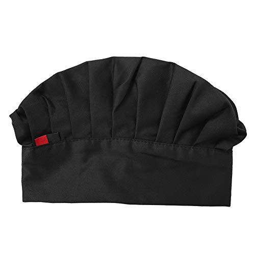 Kochmütze - Verstellbare elastische Kochmütze für Erwachsene Baker Kitchen Cooking Chef Cap (Farbe : Black)