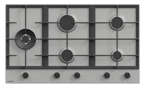 PremierTech Piano Cottura a Gas 5 fuochi 90cm Acciaio Inox Wok supporti in ghisa professionali...