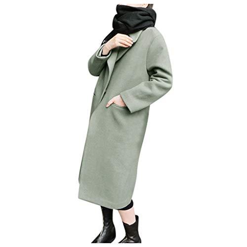 Xmiral Mantel Damen Einfarbig Umlegekragen Strickjacken Langer Trenchcoat Slim Jacke Winter Warm Knopf Outwear Ganzjahresjacke Steppjacke(Schwarz,L)