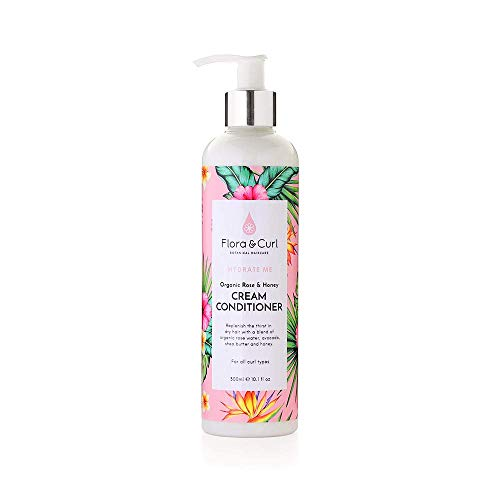 Flora & Curl Organic Rose & Honey Cream Conditioner for Kinky and Curly Natural Hair 300ml