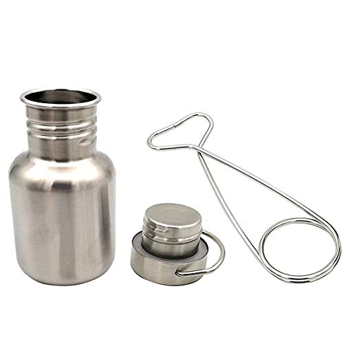 Juego de taza de agua para camping, juego de taza de agua portátil de 350 ml de acero inoxidable con gancho