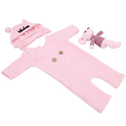 Sombrero de fotografía para bebés Disfraz de muñeca Cómodo y seguro para bebés Niños Niñas para fotografía infantil(Pink)