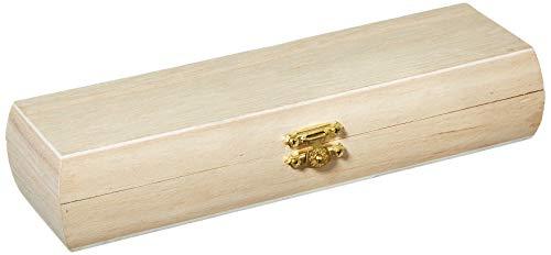Plumier Bombé de madera en bruto con cierre latón