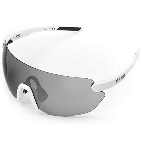 Briko Starlight - Occhiali da sole da ciclismo, unisex, per adulti, colore: bianco