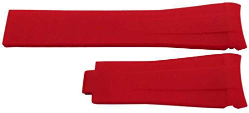 Rubber Watch Strap Made by W&CP to fit Rolex GMT Oyster & Omega SeaMaster Red 20mm
