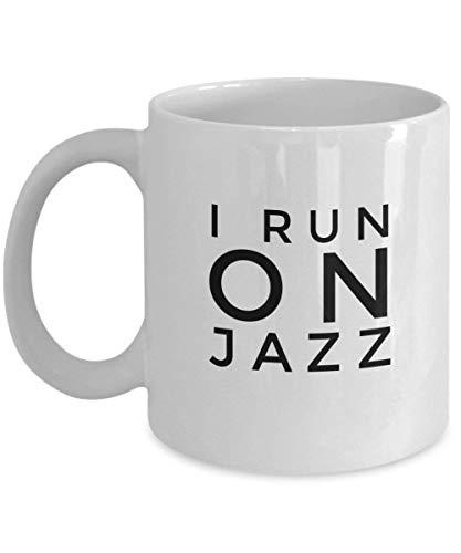 N\A I Run On Jazz Coffee Mug Regalo Divertido para él Sus Mujeres Hombres Mamá Papá Hermano Hermana Navidad Cumpleaños Taza única