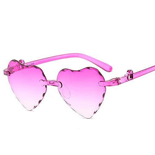 MSYOU - Gafas de sol clásicas sin marco, color degradado, con forma de corazón, para mujer y niña, para actividades al aire libre, para montar en bicicleta, resistentes a los rayos UV, color morado