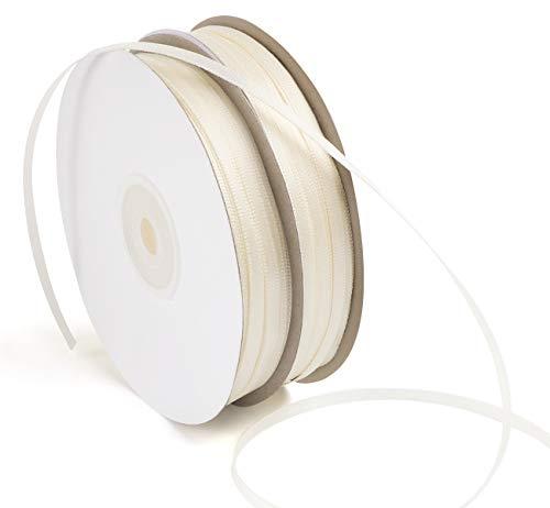 ABSOFINE Satinband 150M Doppelsatinband Beige 3mm Schleifenband Geschenkband Hochzeit Dekoband Geschenkband Antennenband