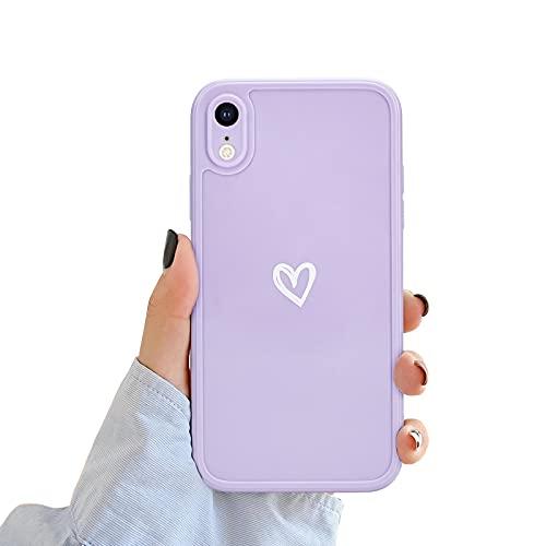 NewseegoCompatibile periPhoneXRCustodia, Carino Heart iPhoneXR Custodia Morbido TPU iPhoneXR Cover per Ragazze Donne Protettivo Custodia in Antiurto Sottile iPhone XR- Viola