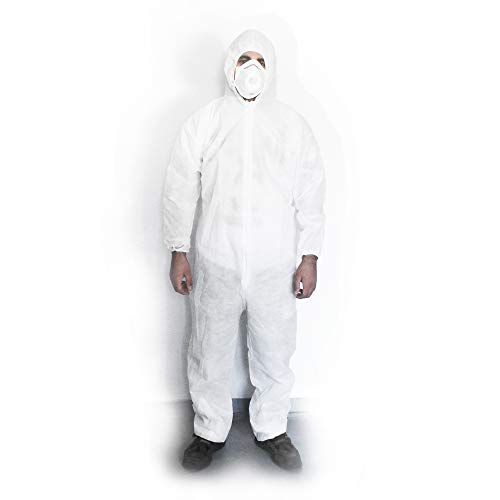 10x Einwegoverall Schutzanzug (Größe L) Maleranzug Einweg Overall Schutzkleidung Einweganzug Glaswolle weiß mit Kapuze, Reißverschluss und elastischem Baumwollbündchen von JUNGMEYER