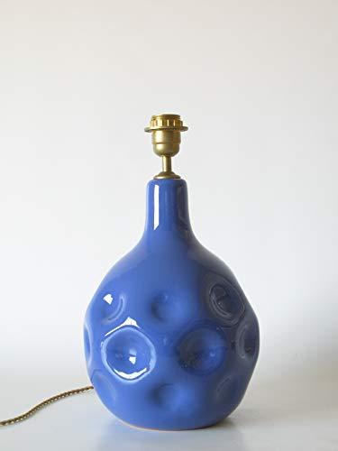 POLONIO Lámpara de Ceramica Mediana de Salon Azul de 30 cm, E27, 60 W - Pie de Lámpara de Cerámica Sobremesa Azul Añil - Jarrón de Ceramica Azul