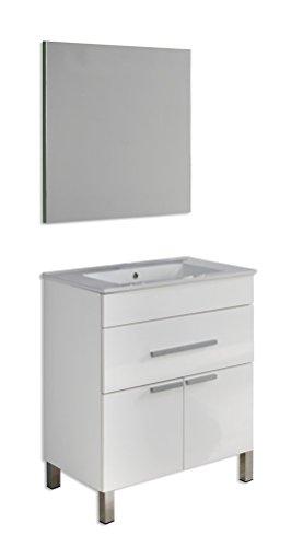 Platos de ducha y mamparas Conjunto Amira_PdM_ Mueble + encimera cerámica + Espejo Liso (Blanco Brillo, 60cm)