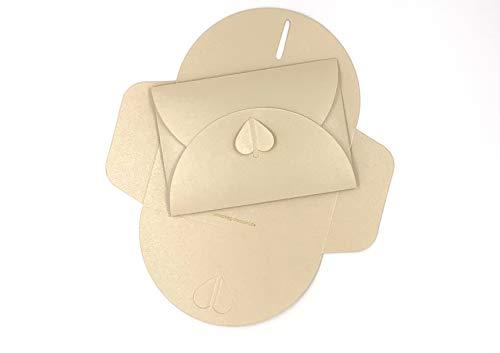 20 Herz-Briefumschläge, Chamois, Creme, aus glitzerndem Pearl-Karton, C6 = 162 x 114 mm, z.B. für Einladungen zur Hochzeit, Verlobung, als Liebesbrief (Chamois)