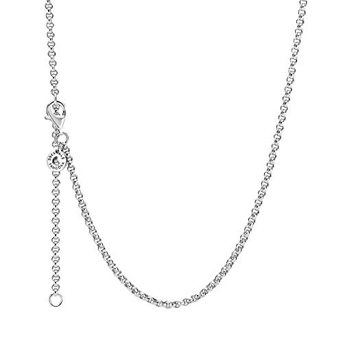 Pandora Rolo Chain Necklace Made of Sterling Silver with Lobster Clasp, Length: 60 cm.