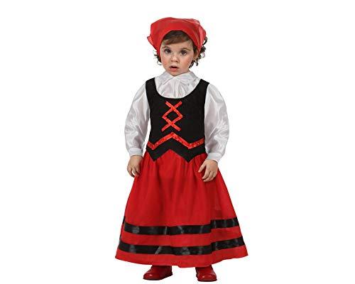 Atosa-32141 Atosa-32141-Disfraz Pastora niña bebé-Talla Navidad, Color Rojo, 6 a 12 Meses (32141)