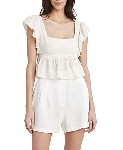 BCBGMAXAZRIA Striped Ruffle Crop Top Camisa, Combo de Color Blanco, XL para Mujer