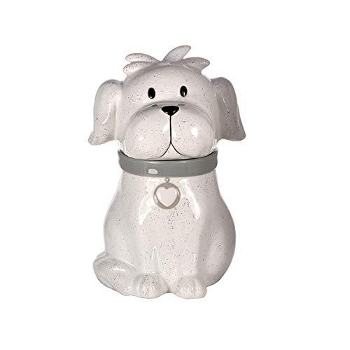 Gran Tarro de Cerámica, Bote para Galletas con Tapa (Blanco) y Forma de Perro Regalo para Amantes de los Animales y Dueños de Perros