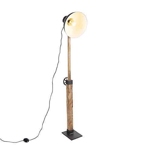 QAZQA Industrie/Industrial Industriestehlampe schwarz mit Mangoholz - Mangos/Innenbeleuchtung/Wohnzimmerlampe/Schlafzimmer/Stahl Länglich LED geeignet E27 Max. 1 x 25 Watt