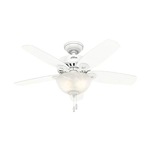 """Hunter Builder Indoor Ceiling Fan with LED Light and Pull Chain Control, 42"""", White / Light O"""