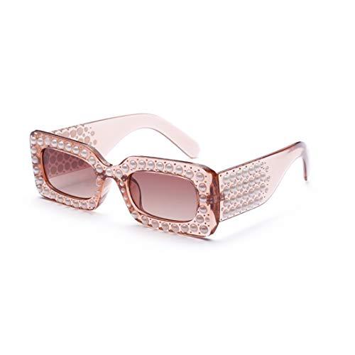 Lvminhm Rechthoekige zonnebril voor vrouwen Pearl zonnebril dames mode zonnebril zonnebril