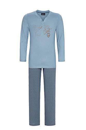 Ringella Herren Pyjama mit Motivdruck Asia Blue 52 0541203P, Asia Blue, 52
