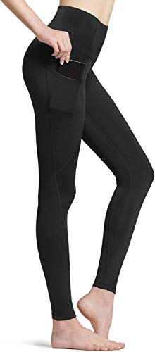 TSLA DRST Women's Thermal Yoga Pants, High Waist Warm Fleece Lined Leggings, Winter Workout Running Tights with Pockets, Thermal Pocket(xyp84) - Black, Medium