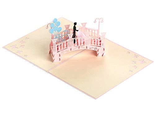 3D Grußkarte, Hochzeitskarte, Romantische Brücke, 3D Pop Up Romantik Faltkarte mit Umschlag, Geschenkkarte zum Geburtstag Valentinstag Hochzeitseinladung