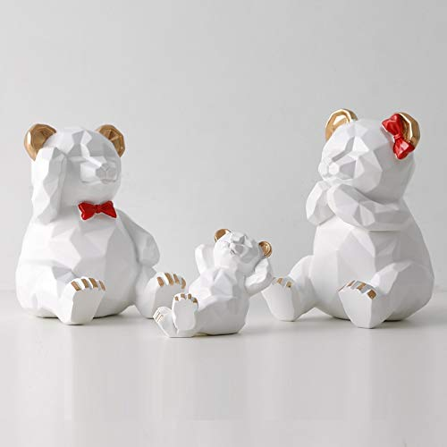 Escultura de estatua de oso geométrico tridimensional nórdico, una familia de tres osos de origami, decoraciones creativas, decoraciones suaves en la sala de estar, como se muestra en la Figura 2