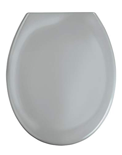 WENKO WC-Sitz Ottana Hellgrau, hygienischer Toilettensitz mit Absenkautomatik, WC-Deckel mit Fix-Clip Befestigung, aus antibakteriellem Duroplast