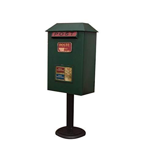 WYYAF Boden stehender Briefkasten, wasserdichter Briefkasten aus Vintage-Schmiedeeisen - Höhe 50 cm Briefkasten, Villa, Restaurant (Farbe: Grün)