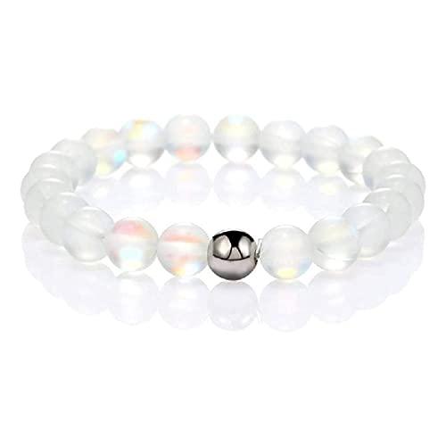 Pulsera elástica redonda de cristal místico con cuentas de 8 mm mate de piedra lunar cuentas pulsera collares en capas para mujeres