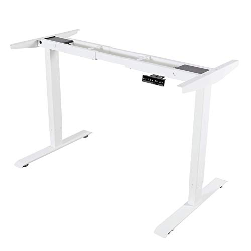 ALLDREI höhenverstellbarer Schreibtisch elektrisch stufenlos höhenverstellbarer Tisch Mit Speicher-Steuerung, 2 Motoren, 2-Fach-Teleskop (Weiß)