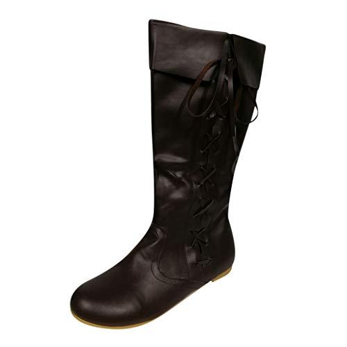 Reitstiefel Damen Leder Langschaft Elegant Stiefel Frauen Weiter Schaft Flach Vintage Stiefeletten