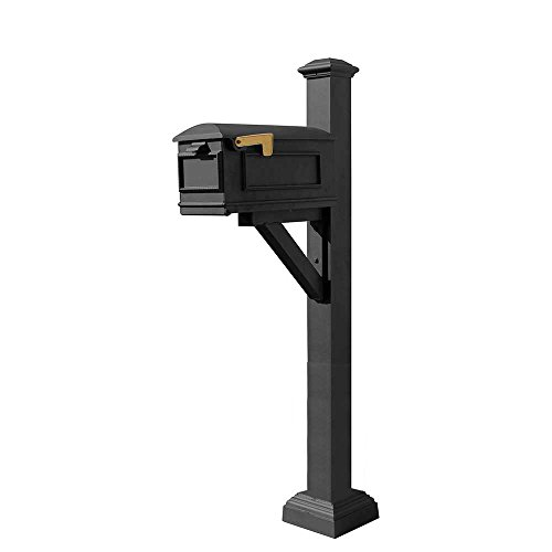 Qualarc WPD-SC2-S7-LMC-BL Westhaven Cast Aluminum Post Mount System with Lewiston Mailbox, Square Collar and Pyramid Finial, Ships in 2 Boxes, Black