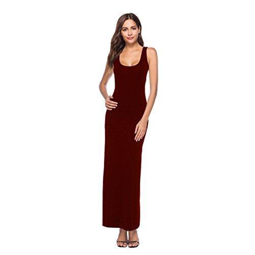 Dooxi Mujer Elegante Sin Mangas Color Sólido Vestido de Fiesta Moda Cintura Alta Largo Vestidos de Noche Vino Rojo L