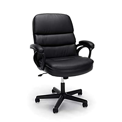 OFM Essentials Collection Bonded Leather Executive Chair with Arms, in Black (ESS-6025)