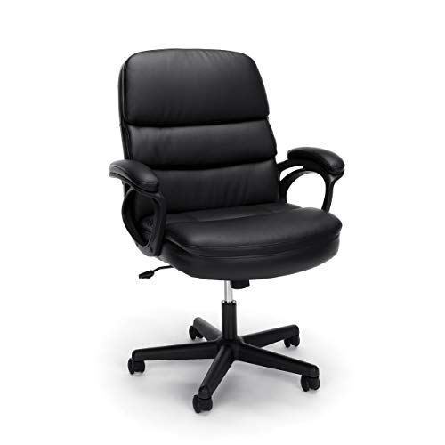 OFM ESS Collection Bonded Leather Executive Chair with Arms Black