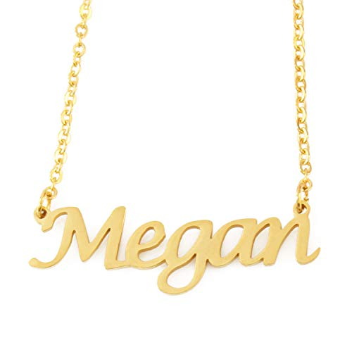 Kigu Megan Personalized Name - 18ct Gold Plated Necklace - Adjustable Chain 16' - 19' Packaging