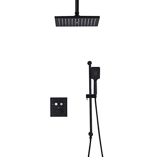 Handheld Control de botones Baño termostático Juego de grifos de ducha de chorro de aire a presión negro Para el baño (Color : Black)