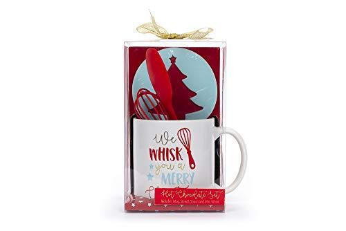 Tri-Coastal Design - Hot Chocolate Gift Set, Contiene una Tazza per Cioccolata Calda, un Cucchiaio di Silicone ed uno Stencil Per Cioccolato. Kit Idea Regalo di Natale