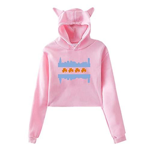 YUJINKANG Katzenohr Hoodie-Strickjacke für Mädchen-irische Chicago-Skyline-Flaggen-sexy mit Kapuze Ernte-Oberseiten