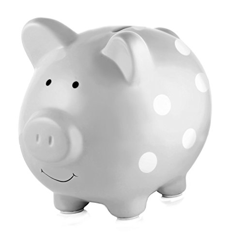 Pearhead Ceramic Piggy Bank, Gender Neutral Nursery Décor, Grey with White Polka Dots