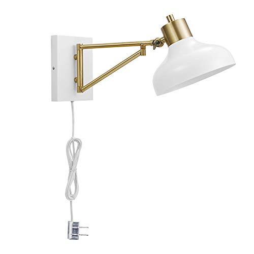 Globe Electric 51344 Berkeley 1-Light Plug-In or Hardwire Swing Arm Wall Sconce, White, Brass Accents, White Cloth Cord