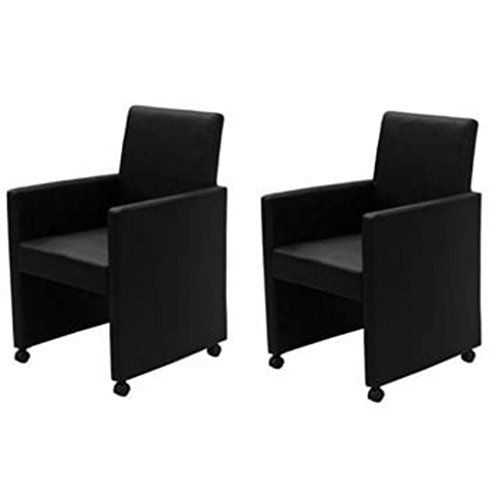 Tidyard Esszimmerstühle 2 STK. Kunstleder Schwarz ining Room Chair Set Dining Room Chairs Set of 2 Kitchen Chairs Faux Leather Black Kitchen Chairs