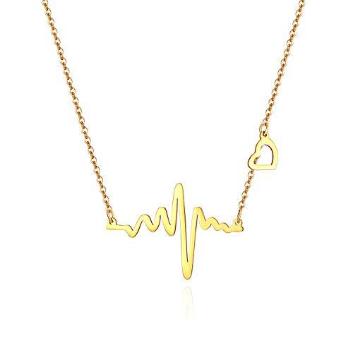 Flongo Damesketting met hanger, voor dames, met elektrocardiogram en hartvormige hanger in gouden medaillon van roestvrij staal, minimalistisch design